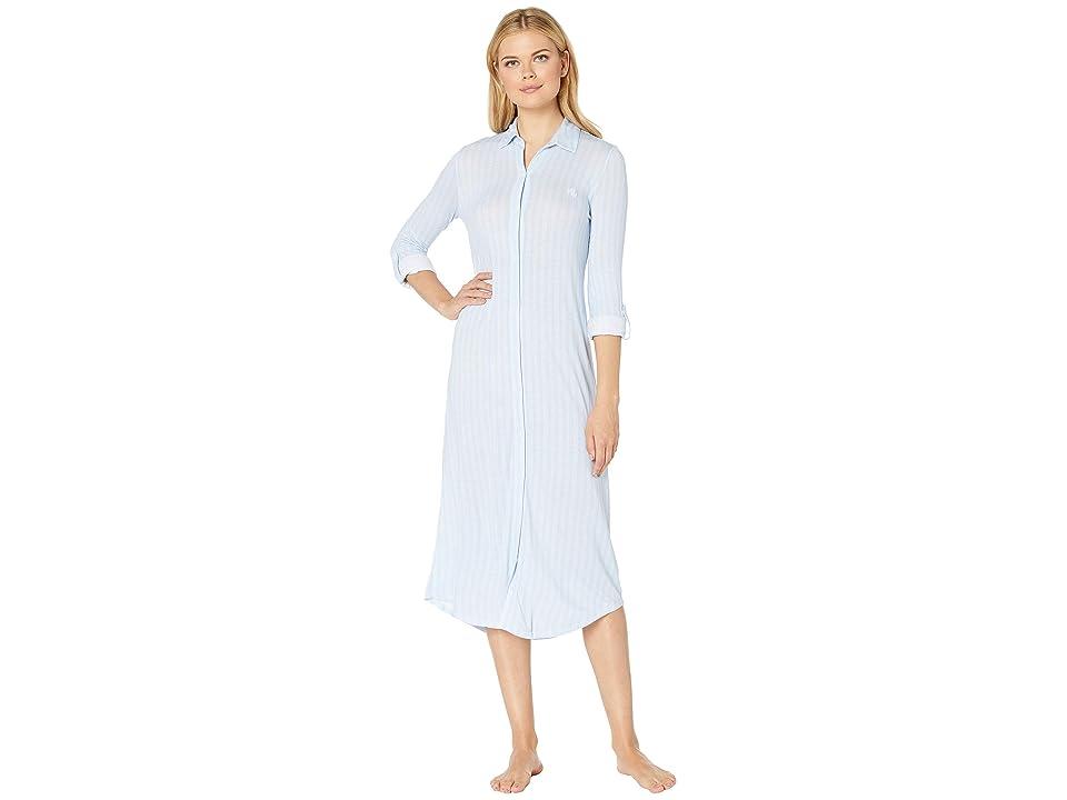 LAUREN Ralph Lauren Long Sleeve Roll Tab Ballet Sleepshirt (Blue Stripe) Women