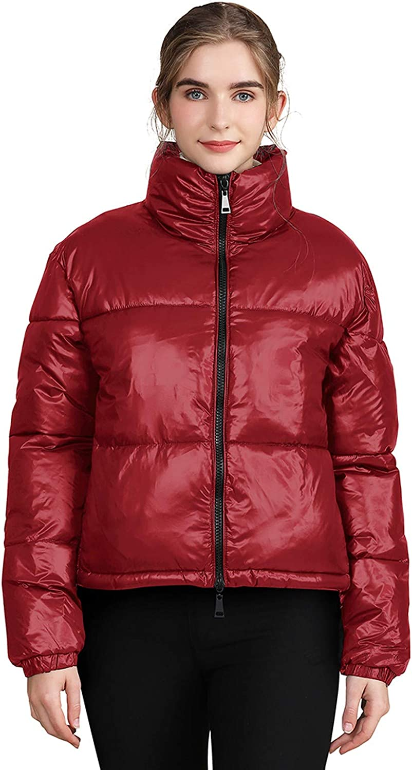 Womens Shiny Short Jacket Casual Long Sleeve Crop Top Down Cotton Jackets Winter Zip Up Padded Coat Outware