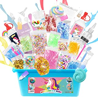 DIY Unicorn Slime Kit for Girls Boys - 2 in 1 Slime Supplies [53 Pieces Set in One Box] Make Your Own Clear Slime, Fluffy Cloud, Glitter and Foam Slime Age 6+ year old Girl Gifts Kids Art Craft