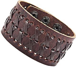 Stunning Brown Gipsy Kings Style Cuff Leather Bracelet Wristband Bangle Fashion (Resizable)