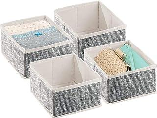 mDesign boite de rangement (lot de 4) – boite tissu pour linge, accessoires, bijoux, etc. – bac de rangement en fibre synt...