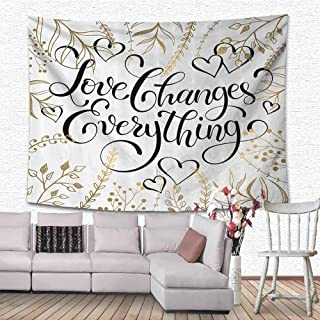 HouseLook Romantic Wall Art Decor Tapestry Golden Foliage Pattern Frame Style with Heart Shapes and Inspirational Quote Cloth Wall Tapestry for Dorm 60
