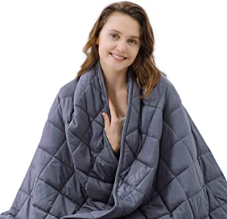 ZZZNEST Weighted Blanket Adult (21 lbs, 60''X80'', 7 Layers) Heavy Blanket for Improving Sleep, Soft Breathable Cotton Sleep Blanket with Glass Beads for 200-240 lbs, Individual