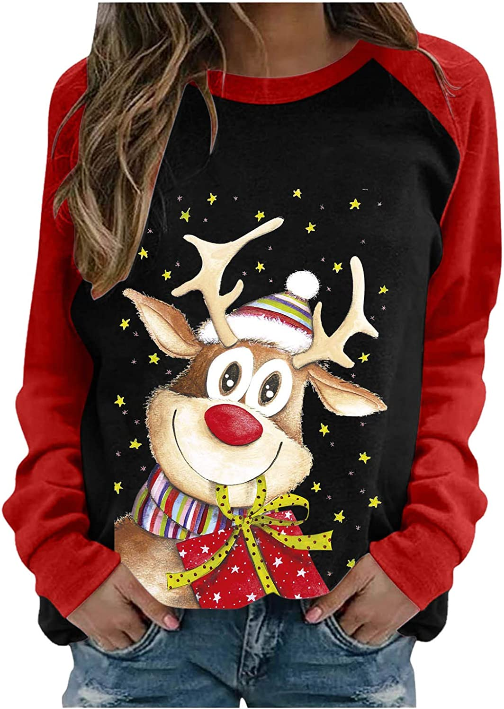 Tops for Women Work Casual,Women's Christmas Splicing Raglan Long Sleeve Sweatshirts Reindeer Gift Pullover Jumper