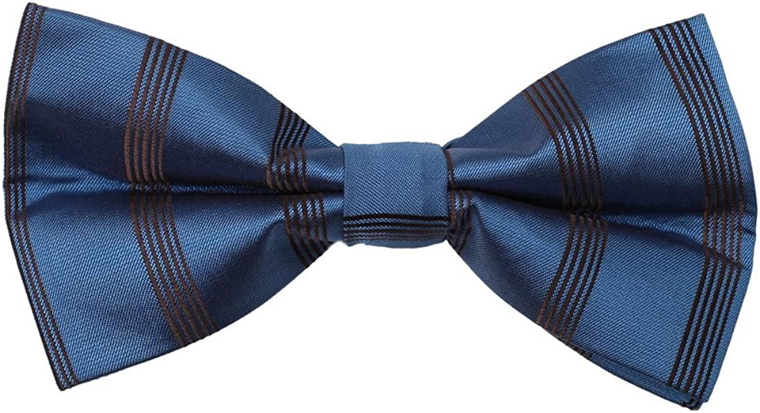 Dan Smith DBD7A23C Steel Blue Stripes Microfiber Mens Tie Factory For Club Pre-tied Bow Tie