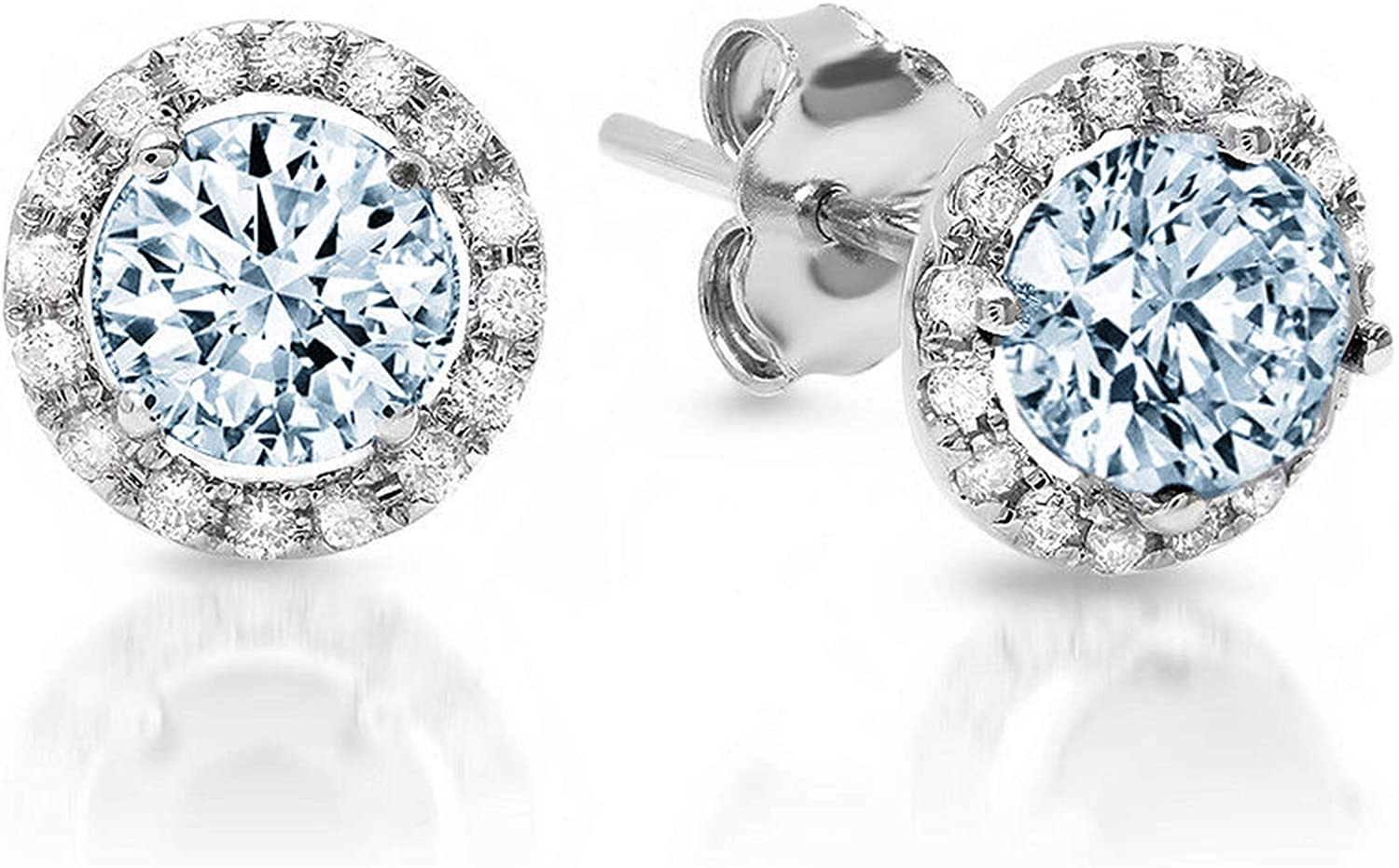 Clara Pucci 1.60 ct Brilliant Round Cut Halo Solitaire VVS1 Flawless Natural Sky Blue Topaz Gemstone Pair of Solitaire Stud Screw Back Earrings Solid 18K White Gold