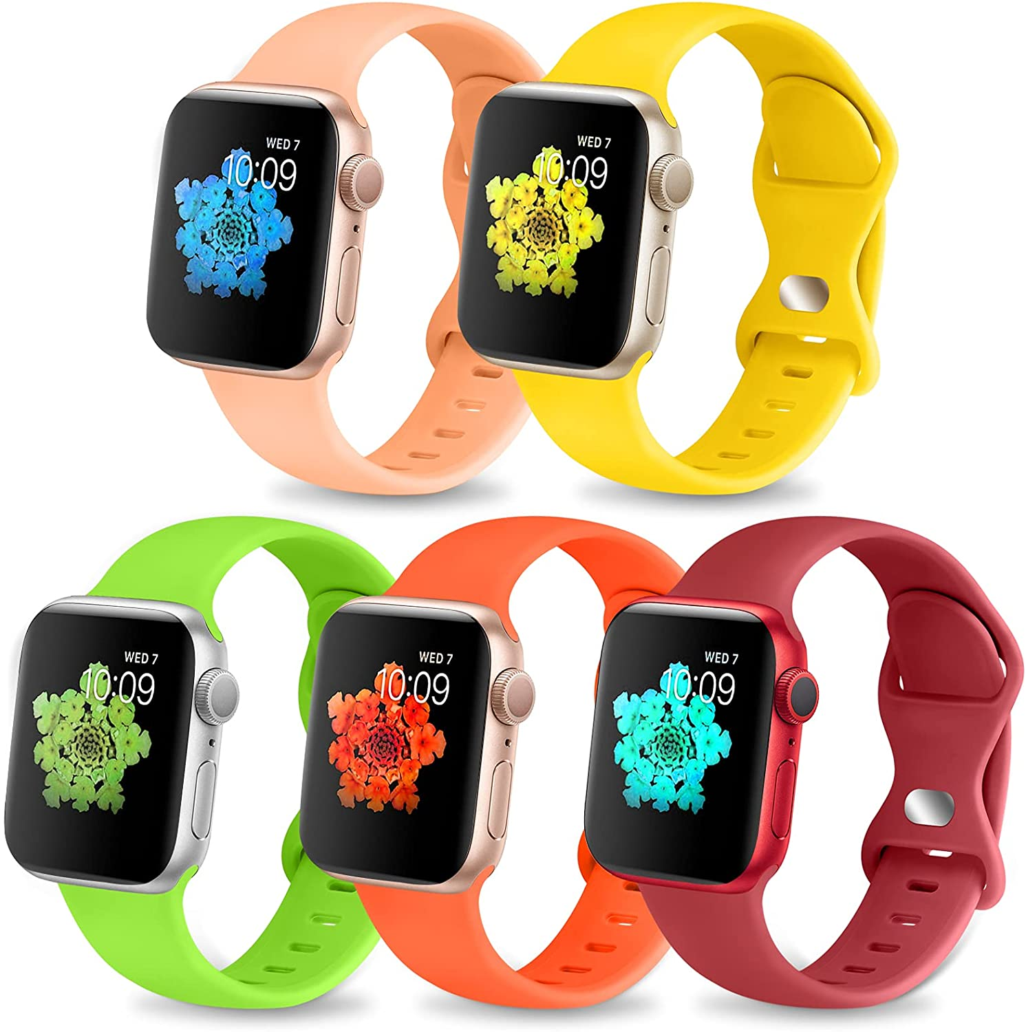 Coolgance 5 Pack Bands Compatible with Apple Watch Bands 41mm 45mm 42mm 44mm 38mm 40mm for Women Men, Soft Silicone Sport Wristbands Replacement Strap with Classic Clasp for iWatch Series SE 7 6 5 4 3 2 1
