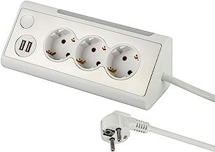 Electraline 62513, meervoudige stekkerdoos, 3-voudige stekkerdoos met 2 USB-poorten en led-nachtlampje (met schakelaar), m...