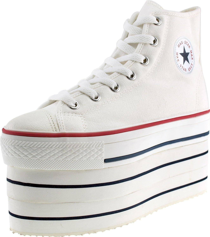 Maxstar Super Double Platform Zipper Canvas Sneakers shoes