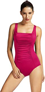 SYROKAN Women's Maillot Shirred Tummy Control Athletic Training One Piece Swimsuits