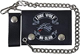 Officially Licensed Originals Lone Wolf, NO Club, Detachable Chain & Leather Belt Loop Snap, Bikers Tri-Fold Leather Wallet