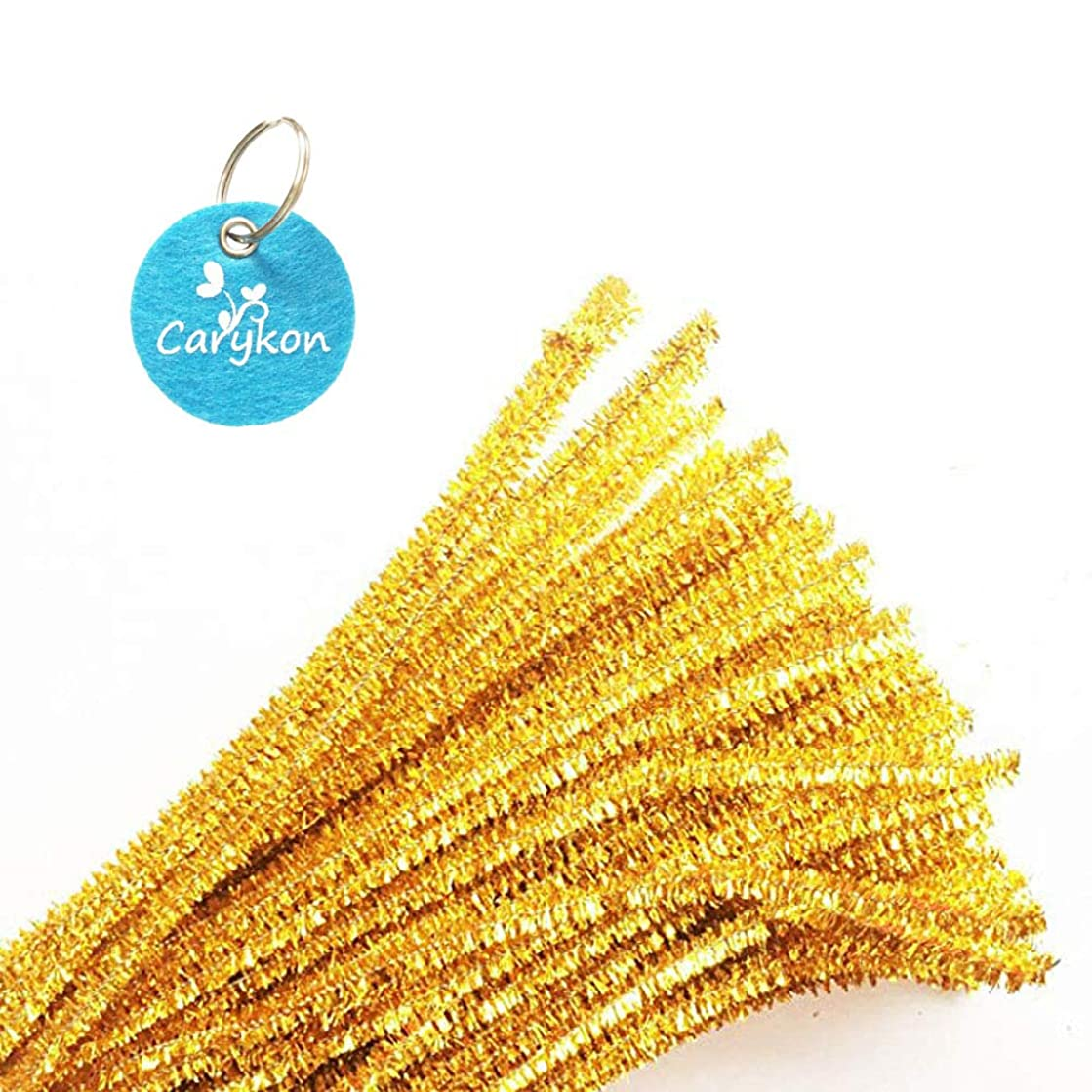 Caryko Tinsel Creative Arts Chenille Stems 6 mm x 12 Inch, Pack of 200 (Gold)
