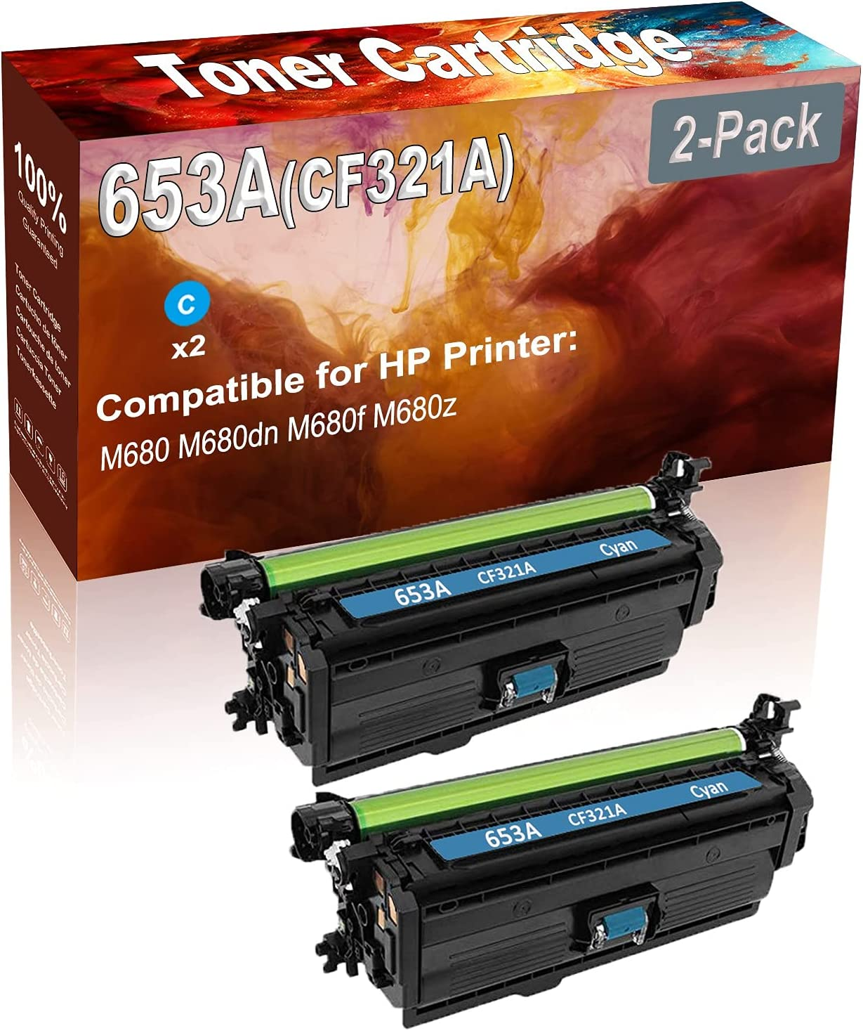 2-Pack (Cyan) Compatible M680 M680dn M680f Laser Toner Cartridge (High Capacity) Replacement for HP 653A (CF321A) Printer Toner Cartridge