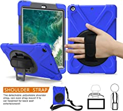 BRAECNstock for iPad 6th/5th Generation Case, Three Layer Heavy Duty Shockproof Protective Case, with 360 Degrees Swivel Stand+Hand Strap+Shoulder Strap for Apple New iPad 9.7-inch 2018/2017 (Blue)