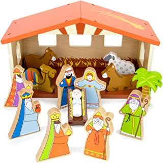 Imagination Generation O Holy Night Wooden Nativity Set - 14-Piece Christmas Holiday Traditional Nativity Playset with The Holy Family, Three Wise Men, Animals, and Manger