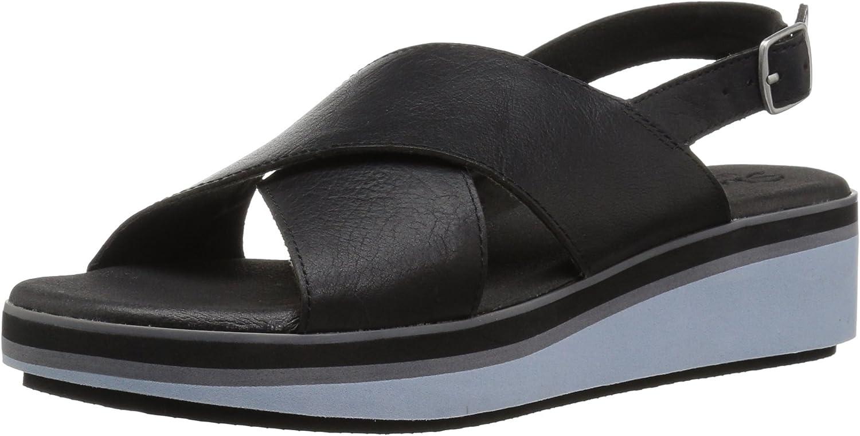 Skechers Womens Hushhush - Jet Squad - Cross Strap Slingback Platform Sandal Wedge Sandal