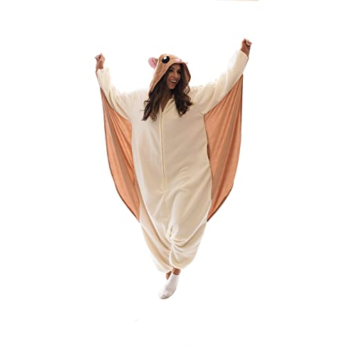 3d7d550ffe Adult Onesie Flying Squirrel Animal Pajamas Costume with Zipper and Pockets