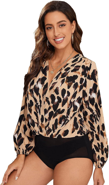 Romwe Women's Allover Print Long Sleeve Surplice V Neck Bodysuit Tops