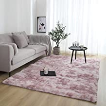Household Tie-Dyed Carpet, Soft and Comfortable Long-Haired Carpet, Non-Fading and Washable Rectangular Bedside Blanket, M...