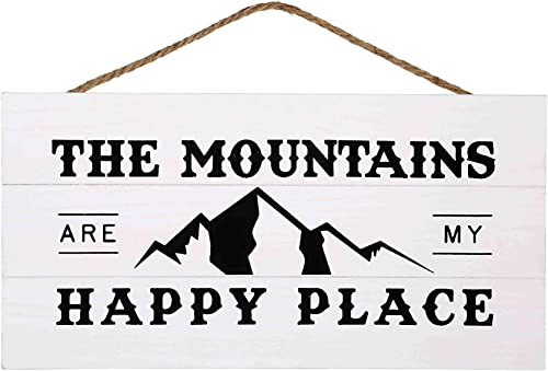 popular Mountains are My Happy Place Wood Plank Hanging Sign for Home outlet online sale Decor (13.75 online sale x 6.9 Inches with White Background) online