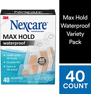 Nexcare Max Hold Waterproof Bandages, Hypoallergenic, Stays On Up to 48 Hours, Clear, 40 Bandages, Assorted Sizes