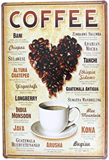 12x8 Inches Pub,bar,home Wall Decor Souvenir Hanging Metal Tin Sign Plate Plaque (COFFEE)