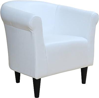 Pleasant Amazon Com Belleze Club Chair Tub Faux Leather Armchair Ibusinesslaw Wood Chair Design Ideas Ibusinesslaworg