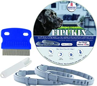 Flea and Tick Collar for Dog, Natural and Safe Flea and Tick Collar for Large Dogs, 2×8 Months Protection, Waterproof, One...
