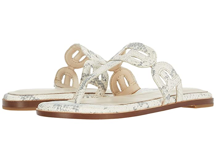 Cole Haan  Anoushka Sandal (Natural Chalk Python Print Leather/Natural Heavy Stitch) Womens Shoes