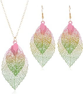 Gradient Colorful Leaf Vein Shaped Pendants Necklace Earring Jewelry Set Bohomian Double Layered Leaves Dangle Earring Fas...