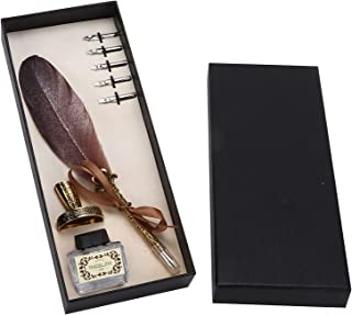Quill Pen Set, Feather Dip Pen Decorative Antique for Calligraphy Practicing for Writing(Brown)
