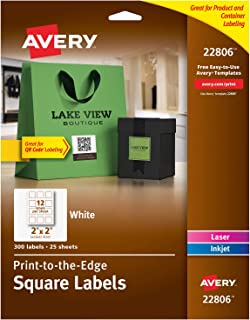 Avery Square Labels for Laser & Inkjet Printers, Print-to-the-Edge, 2