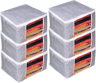 PrettyKrafts Saree Cover Set of 6 Large/Jute Finish/Wardrobe Organiser/Clothes Bag_Grey, Large