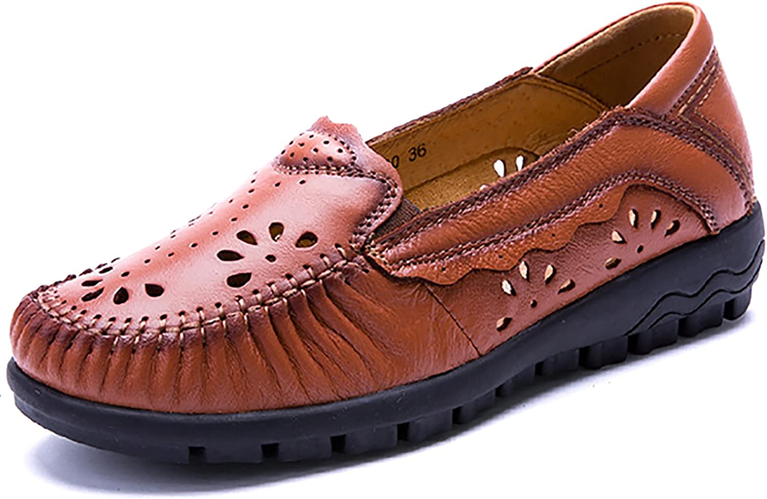 Odema Women's Leather Slip On Loafers Flats Moccasins Driving shoes Casual Walking shoes