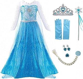 iTVTi Princess Dress Queen Costume Halloween Cosplay Dress Up for Little Girls Blue