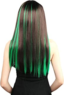 lime green highlights in brown hair