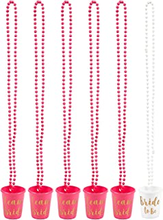 Halskette mit Brautgläsern, Kunststoff, perfekt für Junggesellinnenabschied, Hot Pink und Weiß, 76,2 cm lang, 6 Stück