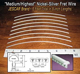 Guitar Fret Wire - Jescar Nickel-Silver Medium/Highest Gauge - Six Feet