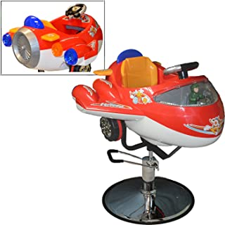 LCL Beauty Childrens Red Airplane Hydraulic Child Kid's Barber Styling Chair Salon Beauty Equipment