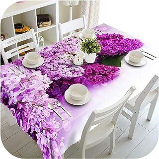 Friendshiy - Mantel de boda morado, 1 pieza 3D, ramo de mesa, tela de árbol de Navidad, mesa de tela para fiesta de cumple...