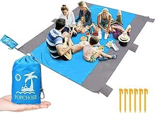 POPCHOSE Sandfree Beach Blanket, Large Sandproof Beach Mat for 4-7 Adults, Waterproof..