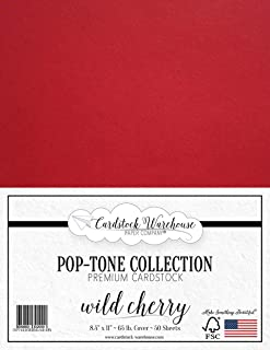 Wild Cherry RED Cardstock Paper - 8.5 x 11 inch 65 lb. Cover -50 Sheets from Cardstock Warehouse