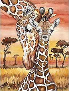 5D Diamond Painting Kit,Painting Diamonds Drills,Giraffe Mother and Kid Rhinestone Embroidery Cross Stitch Kits Supply Arts Craft Canvas Wall Decor Stickers Home Decor 12x16 inches