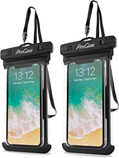 "ProCase Universal Waterproof Case Cellphone Dry Bag Pouch for iPhone 11 Pro Max Xs Max XR XS X 8 7 6S Plus, Galaxy S10 Plus S10 S10e S9+/Note 10 10+ 5G 9 8, Pixel 4 XL up to 6.8"" - 2 Pack, Black"