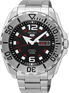 SEIKO 5 'Baby Monster' 100M Automatic Black Dial Steel Watch SRPB33K1