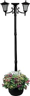 Sun-Ray 312014 Vittoria 2-Head Solar LED Lamp Post & Planter, Batteries Included, 7', Black