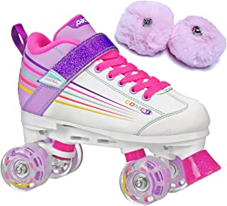 Pacer Comet Kids Light Up Roller Skates Bundle (2 Items) with Baby Pink Poms
