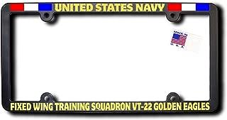 James E. Reid Design USN Fixed Wing Training Squadron VT-22 Golden Eagles License Frame w/Reflective Gold Lettering w/Ribbons