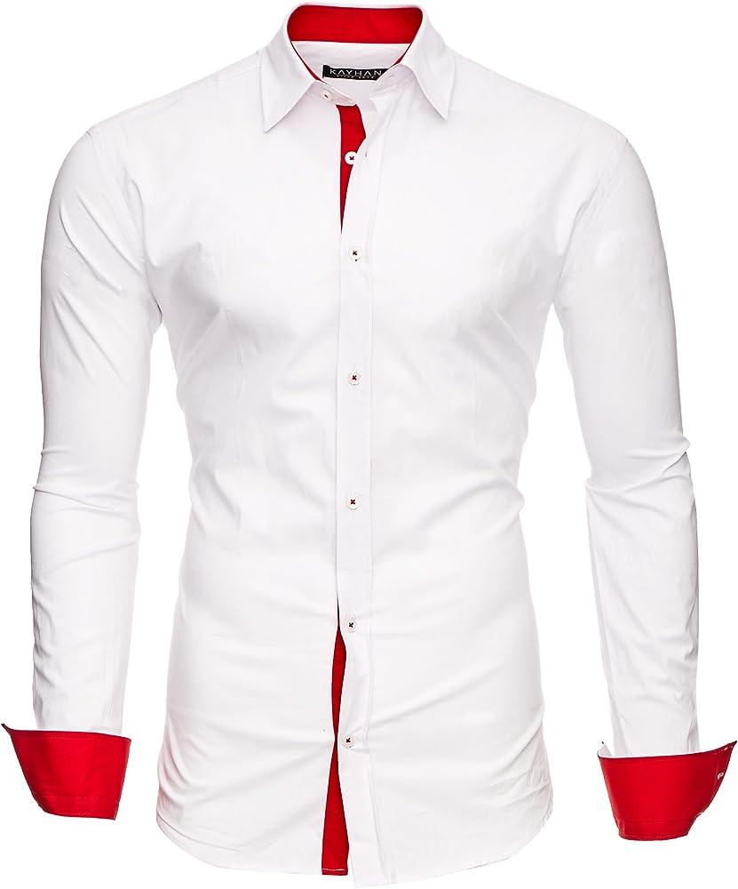 Kayhan, originale camicia per uomo, maniche lunghe, 97% cotone, 3% elastan A-TwoFace-0000135C