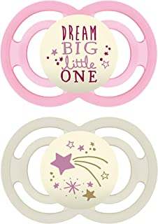 Best MAM Perfect Night Pacifiers, Glow in the Dark Pacifiers (2 pack, 1 Sterilizing Pacifier Case) MAM Pacifiers 6 Plus Months for Baby Girl, Baby Pacifiers, Designs May Vary Review